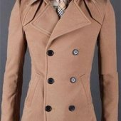 Cream Pea Coat Mens
