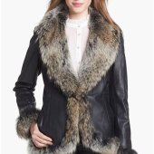 Leather Coat Fur Trim